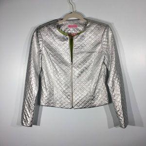 Isaac Mizrahi Metallic Silver Quilted Jacket